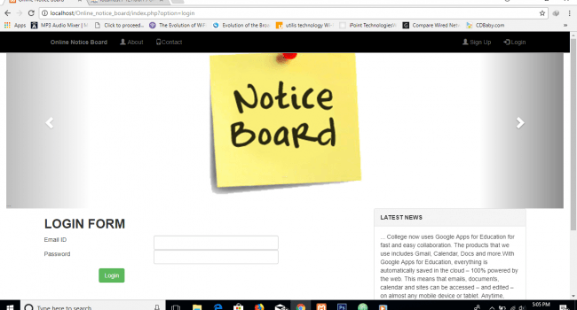 online notice board using php 1 - Source Code Project
